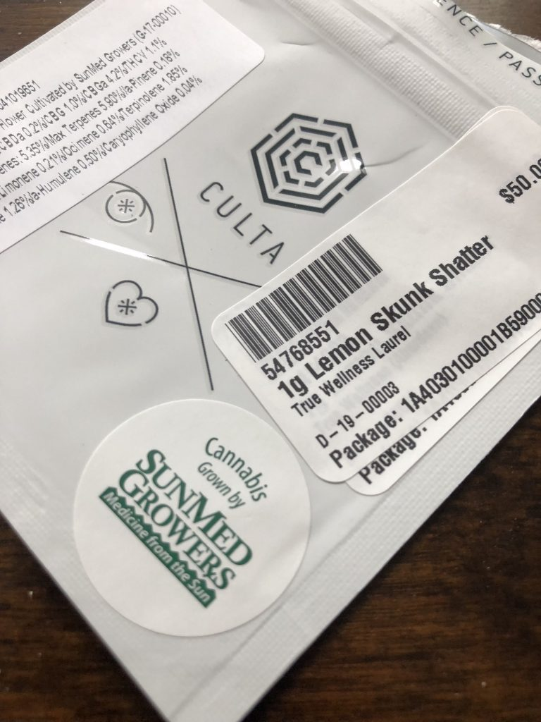 Culta Shatter package SunMed grown sticker Maryland medical weed photo