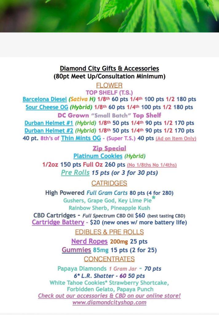 Diamond City Delivery DC 5-29-19 marijuana gift selection