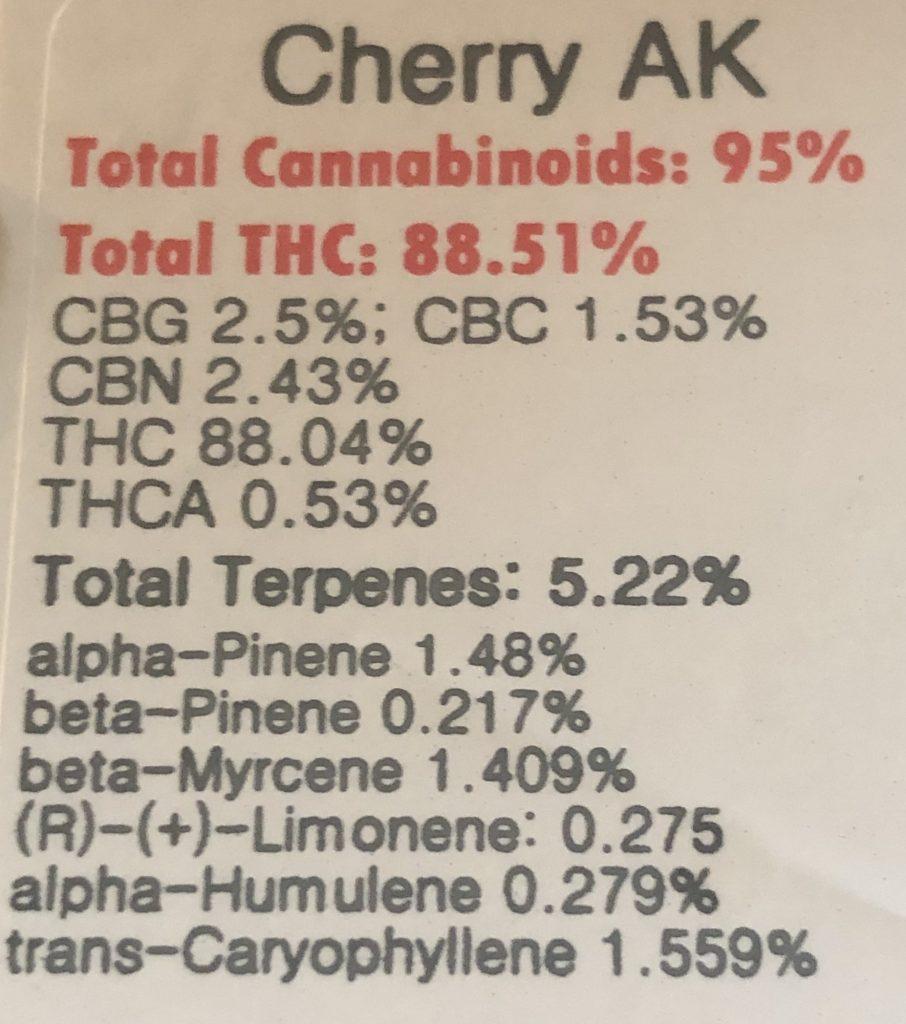 UKU Cherry AK vape lab test maryland weed