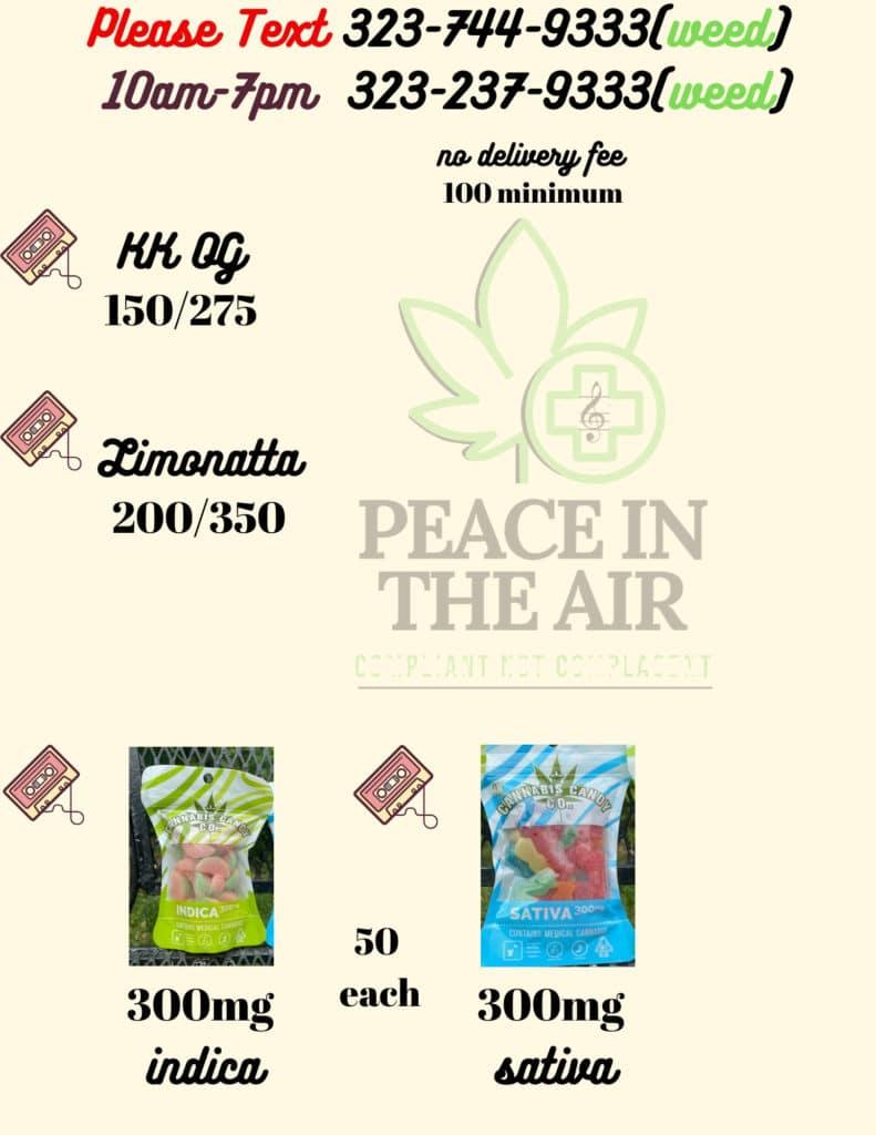 peace air dc edibles menu June 21 2020