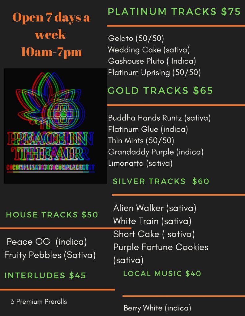 peace in the air dc cannabis gift menu June 7 2020
