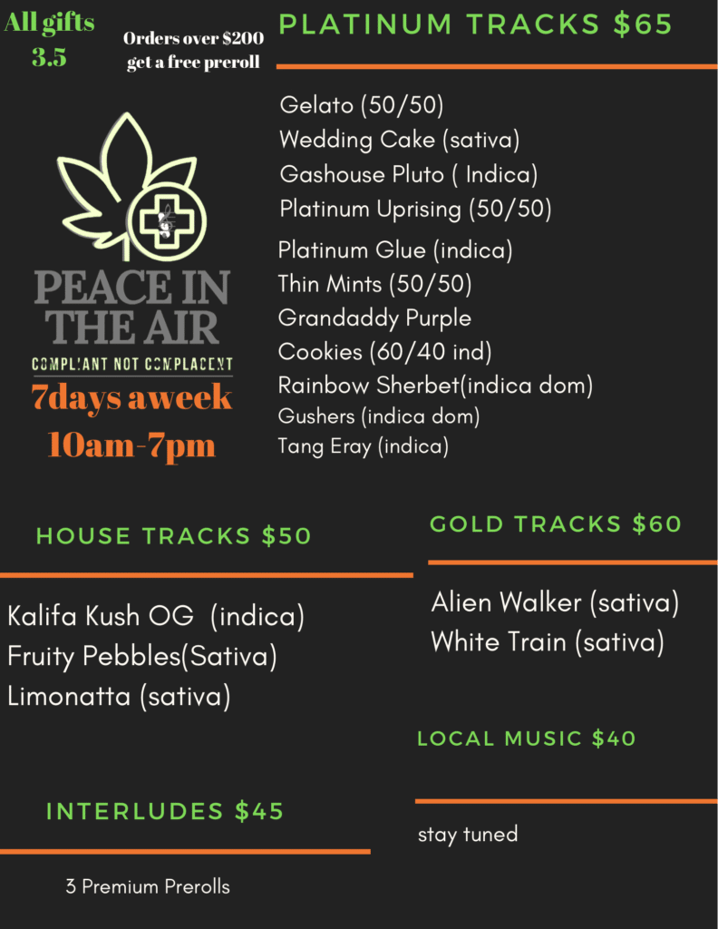 peace in the air dc weed menu July 27 2020