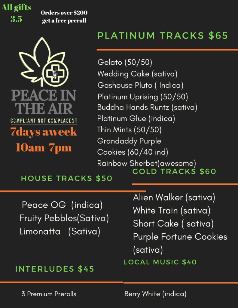 peace in the air dc weed menu July 6 2020
