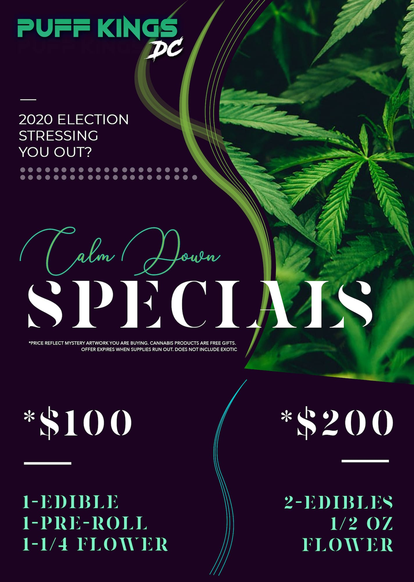 puff kings dc calm down special flyer