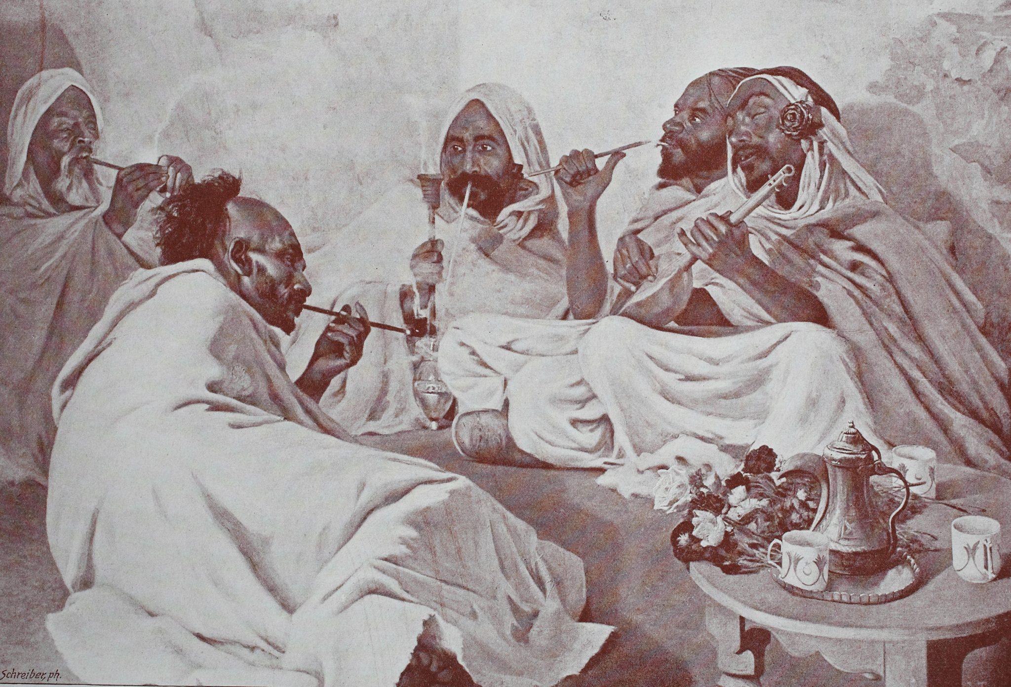 Digitally improved reproduction of hashish smoking, original print from the year 1899