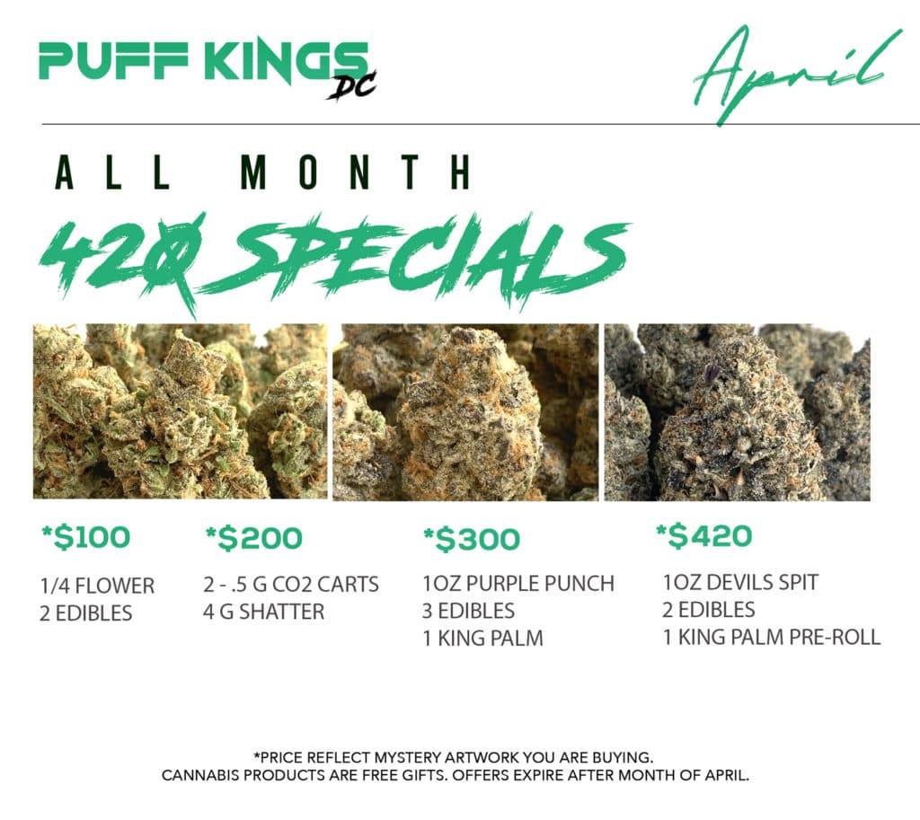 puff kings dc april 2021 420 specials flyer