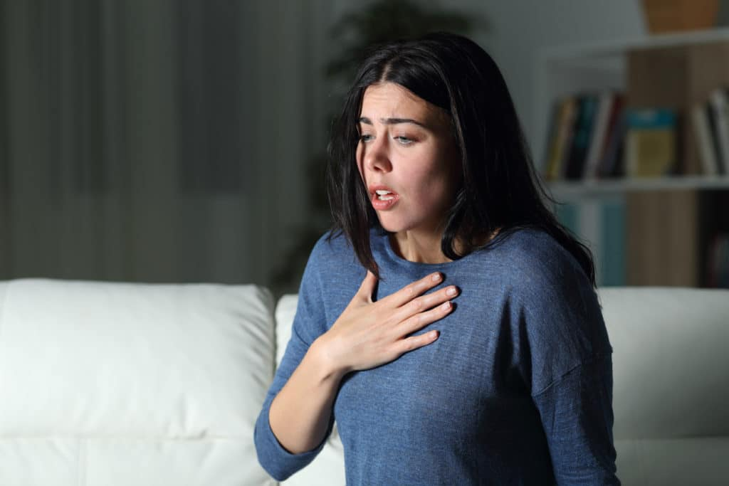 woman anxiety attack stock photo