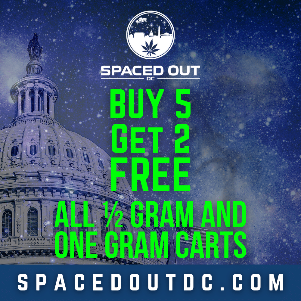 Buy 5 and get two free on any half gram or full gram carts from spaced out DC. Visit spacedoutdc.com for more information.