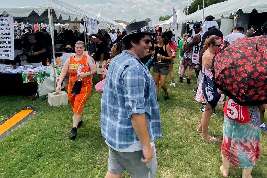 gentleman toker walking around national cannabis festival 2021